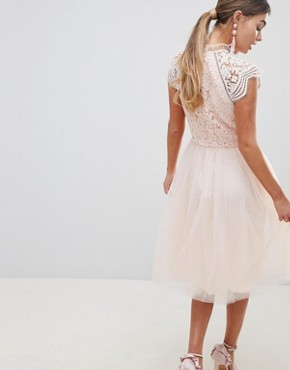 photo Cap Sleeve Lace 2 in 1 Midi Dress with Tulle Skirt by Chi Chi London, color Blush - Image 2