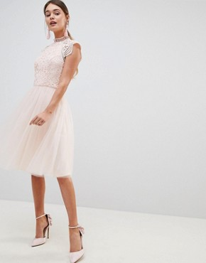 photo Cap Sleeve Lace 2 in 1 Midi Dress with Tulle Skirt by Chi Chi London, color Blush - Image 1
