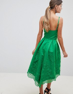 photo Lace Dress with Cami Strap by Chi Chi London Premium, color Bright Green - Image 2
