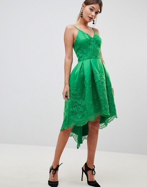 photo Lace Dress with Cami Strap by Chi Chi London Premium, color Bright Green - Image 1