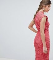 photo Scallop Lace Pencil Dress by Chi Chi London, color Pink - Image 2
