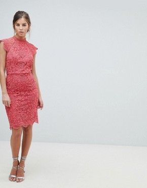 photo Scallop Lace Pencil Dress by Chi Chi London, color Pink - Image 4