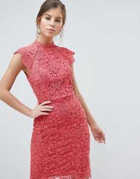 photo Scallop Lace Pencil Dress by Chi Chi London, color Pink - Image 1