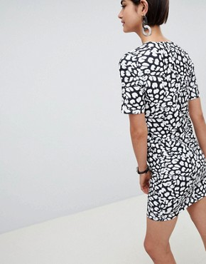 photo Mini Dress with Wrap Skirt in Animal Print by ASOS DESIGN, color Animal Print - Image 2