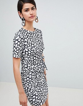 photo Mini Dress with Wrap Skirt in Animal Print by ASOS DESIGN, color Animal Print - Image 1