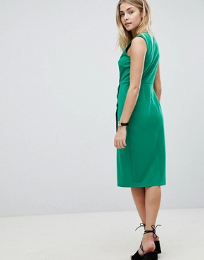 photo V-Neck Wrap Dress with Button Detail by ASOS DESIGN, color Green - Image 2