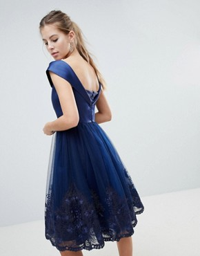 photo Off Shoulder Midi Dress with Bow Front and Premium Lace Detail by Chi Chi London, color Navy - Image 2