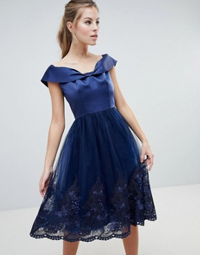 photo Off Shoulder Midi Dress with Bow Front and Premium Lace Detail by Chi Chi London, color Navy - Image 1