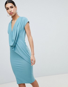 photo Drape Front Dress by ASOS DESIGN, color Duck Egg - Image 1
