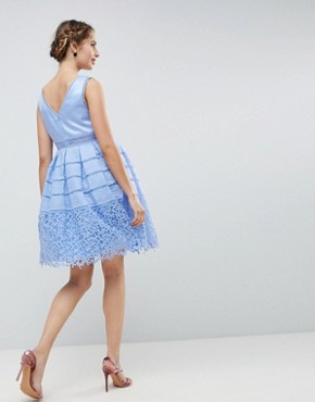 photo Cutwork Lace Prom Dress by Chi Chi London Maternity, color Sky Blue - Image 2