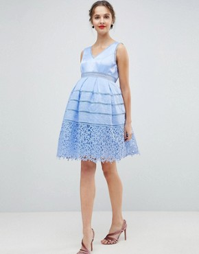 photo Cutwork Lace Prom Dress by Chi Chi London Maternity, color Sky Blue - Image 1