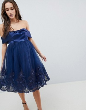 photo Off Shoulder Midi Dress with Bow Front and Premium Lace Detail by Chi Chi London Maternity, color Navy - Image 1