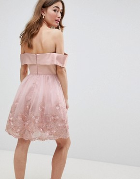 photo Off Shoulder Midi Dress with Bow Front and Premium Lace Detail by Chi Chi London Petite, color Mink - Image 2