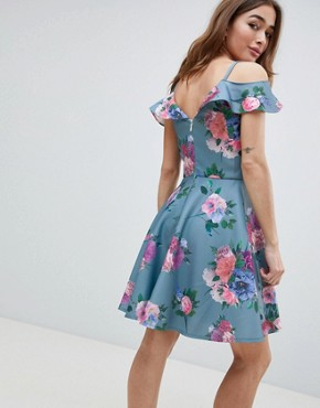 photo Printed Midi Dress with Cold Shoulder Detail by Chi Chi London Petite, color Multi - Image 2