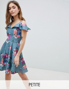 photo Printed Midi Dress with Cold Shoulder Detail by Chi Chi London Petite, color Multi - Image 1