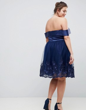 photo Off Shoulder Midi Dress with Bow Front and Premium Lace Detail by Chi Chi London Plus, color Navy - Image 2