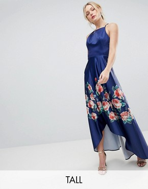 photo High Low Midi Dress with Placement Floral Print by Chi Chi London Tall, color Navy Mutli - Image 1