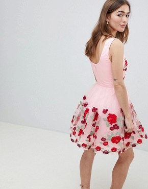 photo Prom Dress with Floral Embroidery by Chi Chi London Petite, color Pink Multi - Image 2
