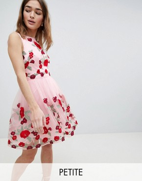 photo Prom Dress with Floral Embroidery by Chi Chi London Petite, color Pink Multi - Image 1