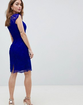 photo Scallop Lace Pencil Dress by Chi Chi London Petite, color Cobalt - Image 2