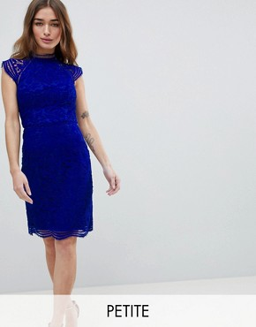 photo Scallop Lace Pencil Dress by Chi Chi London Petite, color Cobalt - Image 1