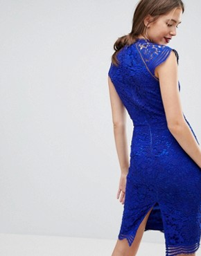 photo Scallop Lace Pencil Dress by Chi Chi London Tall, color Cobalt - Image 2