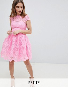 photo Lace Mini Dress with Scalloped Neck and Cap Sleeve by Chi Chi London Petite Premium, color Bubblegum Pink - Image 1