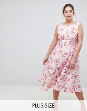 photo Fit and Flare Midi Dress with Seam Detail in Floral Print by Chi Chi London Plus, color Pink Multi - Image 1