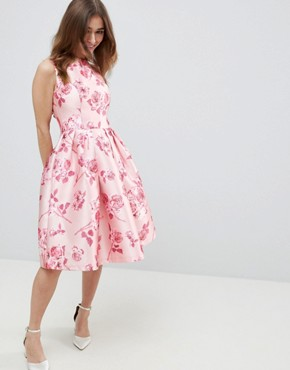 photo Midi Dress with Bow Back in Pink Floral Print by Chi Chi London Petite, color Pink Multi - Image 2