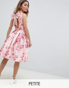 photo Midi Dress with Bow Back in Pink Floral Print by Chi Chi London Petite, color Pink Multi - Image 1