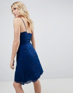 photo Lace Mini Dress by Chi Chi London Tall Premium, color Navy - Image 2