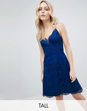 photo Lace Mini Dress by Chi Chi London Tall Premium, color Navy - Image 1