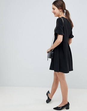 photo Mini V-Neck Smock Dress with Frill Cuff by ASOS DESIGN, color Black - Image 2