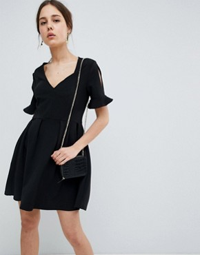 photo Mini V-Neck Smock Dress with Frill Cuff by ASOS DESIGN, color Black - Image 1