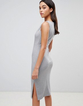 photo Twist Detail Pencil Dress by ASOS DESIGN, color Grey Marl - Image 2