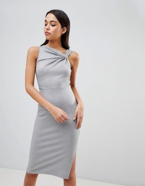 photo Twist Detail Pencil Dress by ASOS DESIGN, color Grey Marl - Image 1