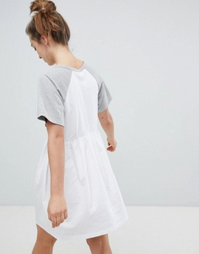 photo Mini Smock Dress with V-Neck and Contrast Sleeves by ASOS DESIGN, color White/Grey Marl - Image 2