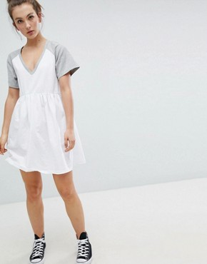 photo Mini Smock Dress with V-Neck and Contrast Sleeves by ASOS DESIGN, color White/Grey Marl - Image 1