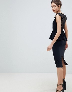 photo Lace Mix Pencil Dress with High Neck by ASOS DESIGN, color Black - Image 2