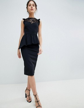 photo Lace Mix Pencil Dress with High Neck by ASOS DESIGN, color Black - Image 1
