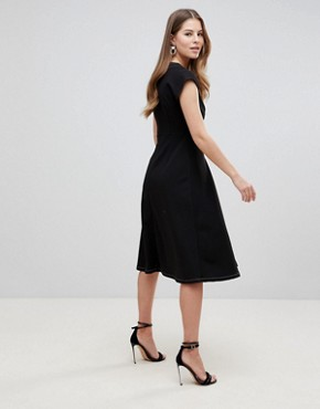 photo Fit and Flare Midi Dress with Contrast Stitching by ASOS DESIGN, color Black - Image 2