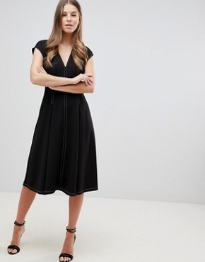 photo Fit and Flare Midi Dress with Contrast Stitching by ASOS DESIGN, color Black - Image 1