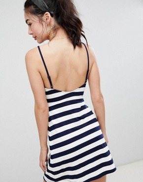photo Mini Square Neck Sundress in Stripe by ASOS DESIGN, color Navy/White Stripe - Image 2