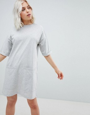 photo Boyfriend T-Shirt Dress with Pockets by ASOS DESIGN, color Grey Marl - Image 1