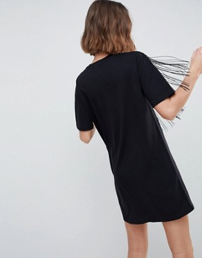 photo Embroidered Yoke Western t-shirt Dress with Fringing by ASOS DESIGN, color Black - Image 2