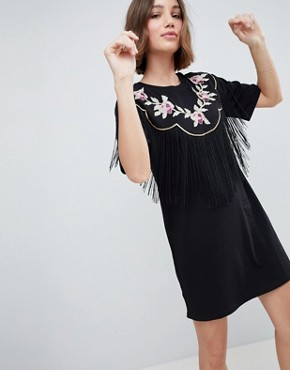 photo Embroidered Yoke Western t-shirt Dress with Fringing by ASOS DESIGN, color Black - Image 1