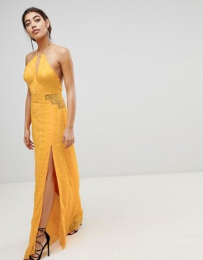 photo Embroidered Maxi Dress by the Jetset Diaries, color Marigold - Image 1