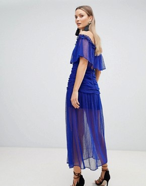 photo Mesh Ruched Maxi Dress by the Jetset Diaries, color Indigo - Image 2
