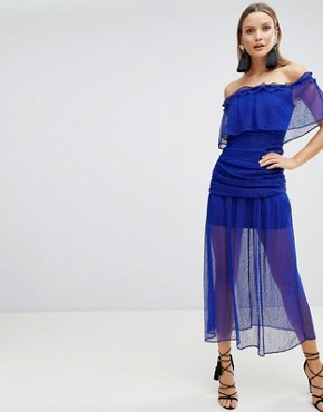 photo Mesh Ruched Maxi Dress by the Jetset Diaries, color Indigo - Image 1