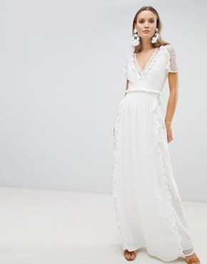 photo Prairie Cutwork Maxi Dress by the Jetset Diaries, color Cream - Image 1